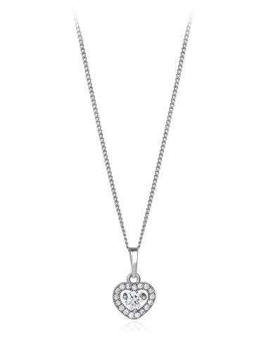 Tophills Diamond Co. 0,30 Ct Pırlanta Efekt Altın Fall İn Love Kolye Renkli